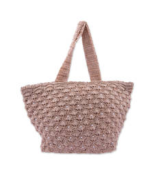 Buy Hand Made Crochet Bag with Beads in Biege handbag online