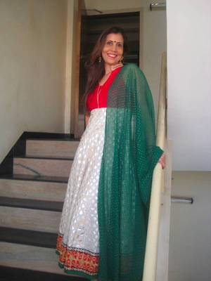 Red, Off-white & Green Anaarkali