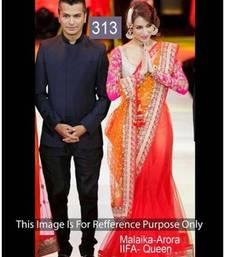 Buy Orange Sequins work net saree with blouse madhuri-dixit-saree online