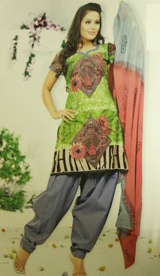 Green and Grey dress material