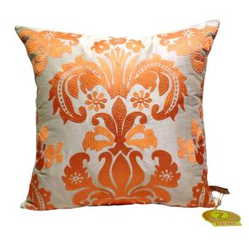 Damask Pattern Cushion Cover Orange