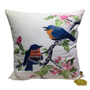 Blue Birds Embroidered Cushion Cover