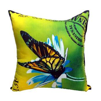 Digital Butterfly Print Neon Lime Cushion Cover