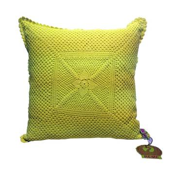 Crochet Patterned Cushion Cover In Lime