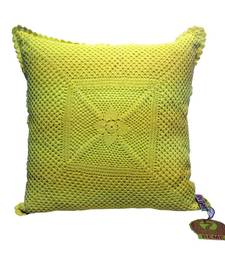 Buy Crochet Patterned Cushion Cover In Lime other-home-furnishing online