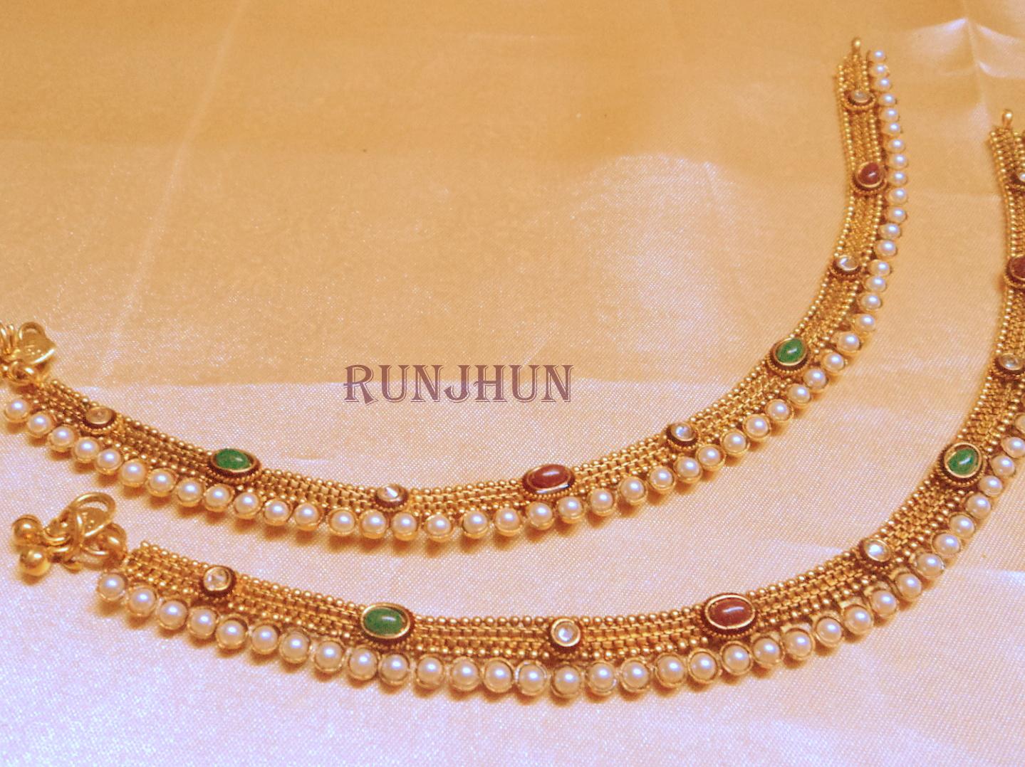 Buy pearl polki gold plated royal payal Online
