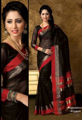 Black and Red Plain Cotton Saree with Blouse