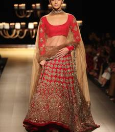 Buy RED AND CREAM BADLA WORKED WEDDIDNG LEHENGA WITH BLOUSE bollywood-lehenga online