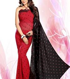 Buy Red And Black embroidered georgette saree with blouse party-wear-saree online