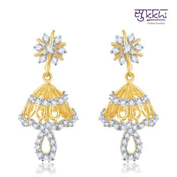 Sukkhi Incredible Gold and Rhodium Plated CZ Jhumki(118E1200)