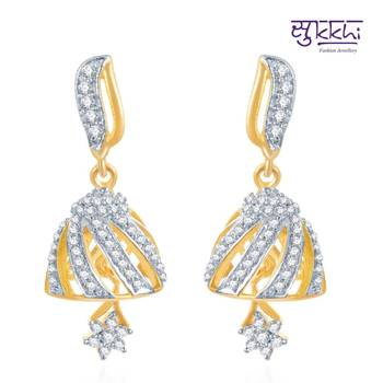 Sukkhi Lavish Gold and Rhodium Plated CZ Jhumki(119E1450)