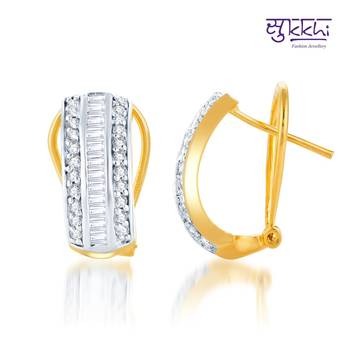 Sukkhi Pretty Gold and Rhodium Plated CZ Earrings(144E2000)