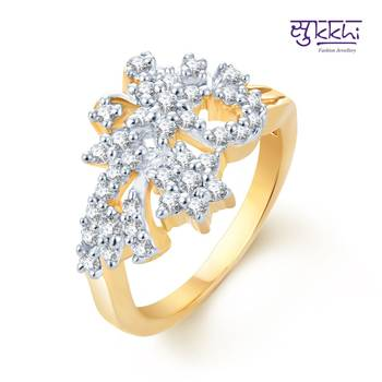 Sukkhi Modern Gold and Rhodium Plated CZ rings(145R660)