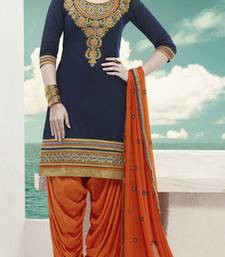 Buy Navy Blue embroidered Pure Cotton and Cambric unstitched salwar with dupatta punjabi-suit online