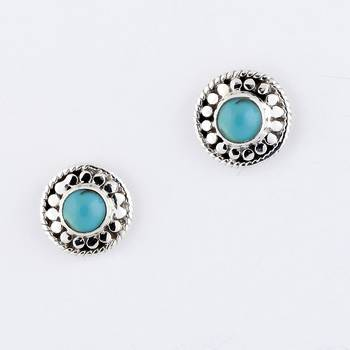 Ethnick Silver Earrings With Turquoisea_06