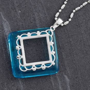 Mid Blue Agate Ring Silver Pendant