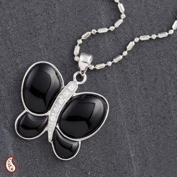 Black Onyx Silver Butterfly Pendant