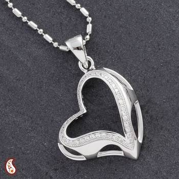 Silver Heart Pendant stud with CZ