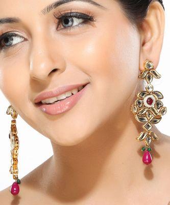 Kundan and Meenakari Dangler Earrings