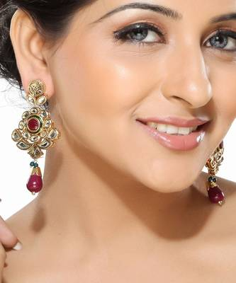 Ruby and Kundan Hanging Earrings