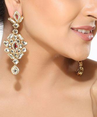 White Kundan and CZ dangler Earrings