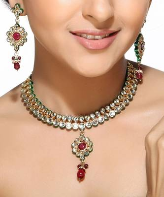 Kundans and Rubies Floral Necklace Set