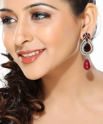Ruby and CZ Alloy Metal Earrings