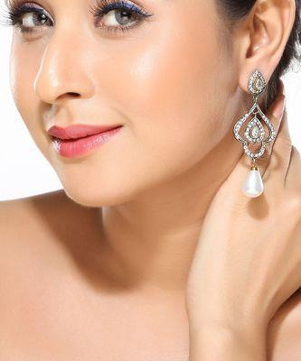 CZ and Pearl chandelier earrings