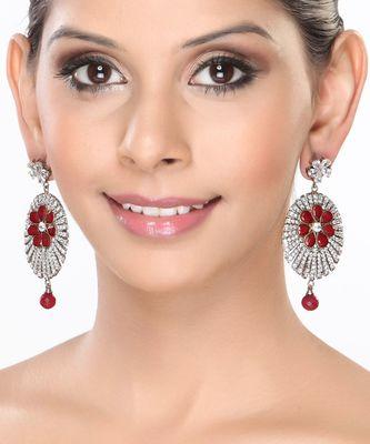 Channel set CZ and Rubies Dangler Earrings