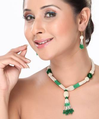 Pearl and Green Onyx Rope Necklace set