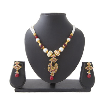 Maroon Kundan Eyeball Copper Necklace Set