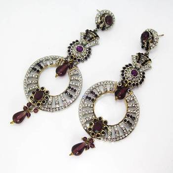 Victorian Round Danglers Violet Shady