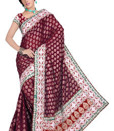 Buy Maroon embroidered viscose saree with blouse wedding-saree online