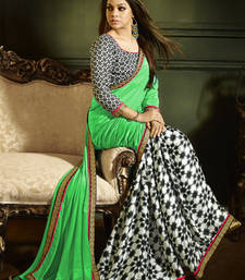 Buy Green and Black printed crepe saree with blouse bollywood-saree online