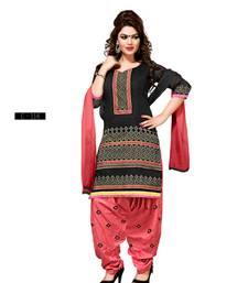 Buy Black embroidered Chanderi semi stitched salwar with dupatta punjabi-suit online