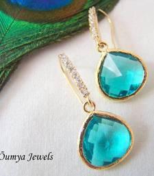 Buy Cubic zirconia earring with blue drop danglers-drop online