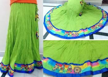 Parrot green cotton long skirt