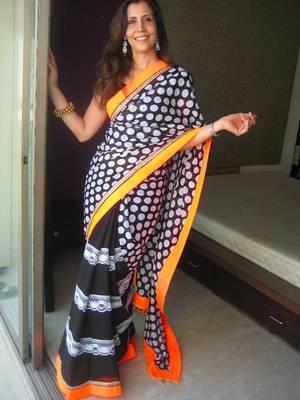 Black&White Polka dot Sari