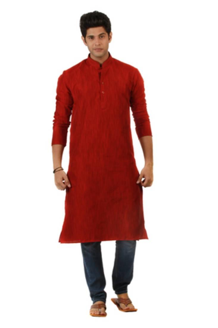 Buy Red Blended Khadi Men Kurtas Online