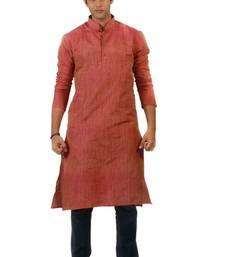 Buy Pink Blended Khadi men-kurtas men-kurta online