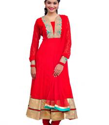 Buy Designer Red Long Net Anarkali Suit readymade-suit online
