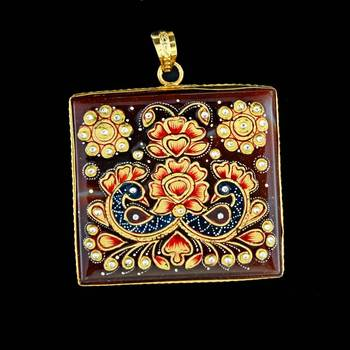 Rectangle Peacock Love Tanjore Pendant