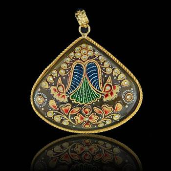 Two Peacock Love Tanjore Pendant