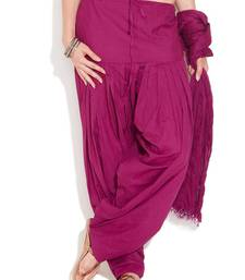Buy Purple Cotton Patiyala and Dupatta Set other-apparel online