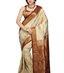 Buy Off White and Maroon woven art_silk saree with blouse black-friday-deal-sale online