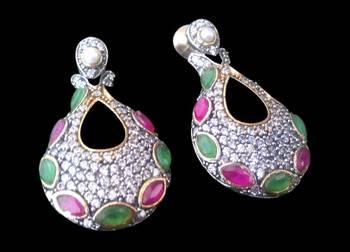Jewel encrusted large teardrop victorian earring