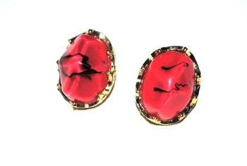 Red asymmetric earrings