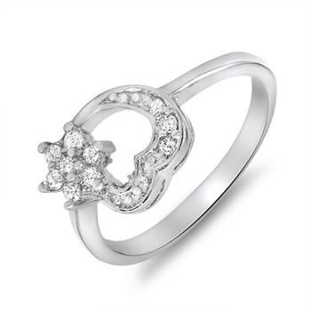 Mahi Flowery Heart Ring