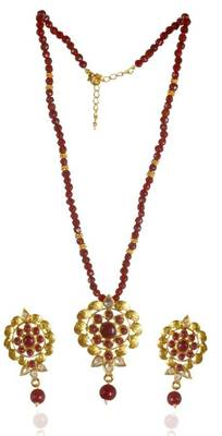 Kshitij Red Beaded Floral pendants