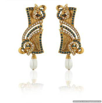 Kshitij Jewels Rectangular Pearl Drop Golden Earrings